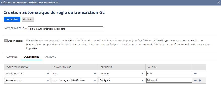Création automatique de règle de transaction GL | NetSuite Release 2020.2