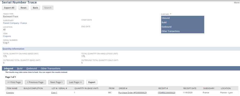 numéro de série / lot | NetSuite Release 2020.2