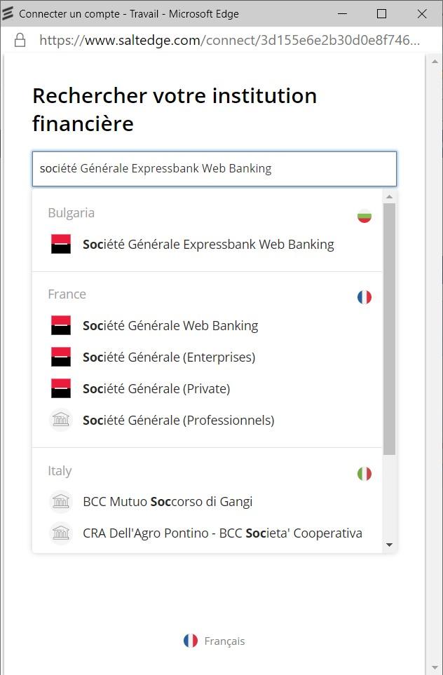 Rechercher votre institution financière