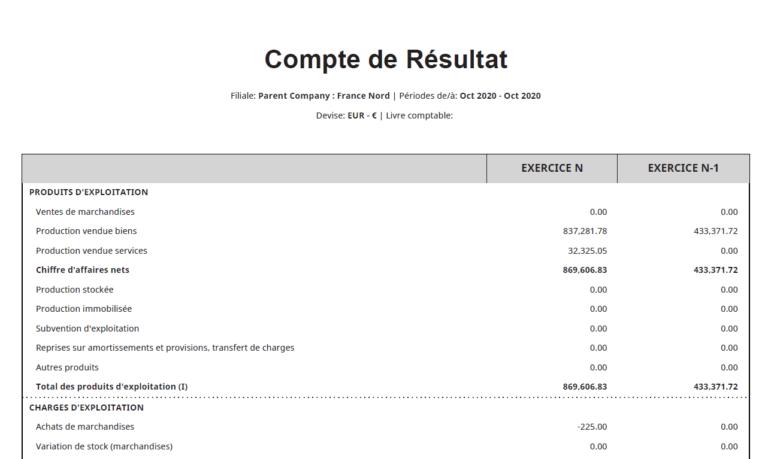 Compte de résultat localisation France NetSuite