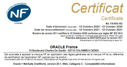 Certif NF203 Oracle