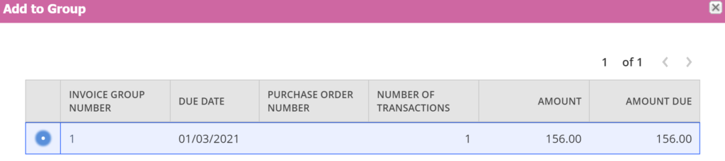 The grouping of invoices 2